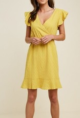 Solid Swiss Dot Ruffle V-Neck Dress Yellow
