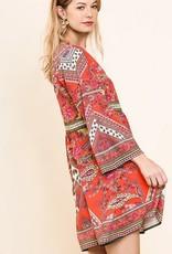 Bohemian Print Kimono Dress Coral