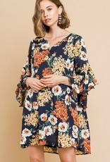 Flaring Ruffle Sleeves Hem Floral Dress Navy