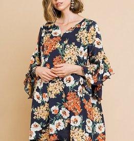 Flaring Ruffle Sleeves Hem Floral Dress Navy