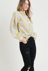 Balloon Sleeve Plaid Shirt Yellow Grey