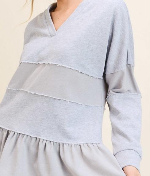 Mixed Media Paneled Shirt Grey