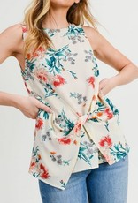 Twist Knotted Top Floral Print Cream Floral