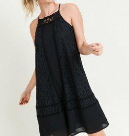 Mixed Lace High Neck Shift Dress Black