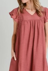 Flatter Sleeve Dress Terra Cotta