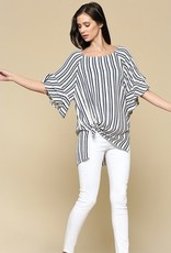 Stripe Ruffle 1/2 Sleeve Tunic Navy