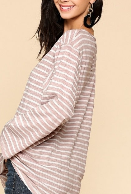 Striped Exposed Stitching Top Pale Pink
