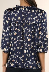 Ditsy Floral 3/4 Sleeve Top Midnight