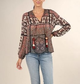 Mix Print Pom Pom Top Red