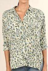 Watercolor Leopard Print Button Up Top