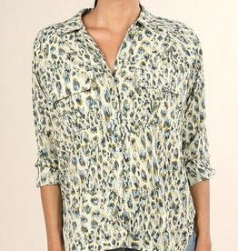 Watercolor Leopard Print Button Up Top
