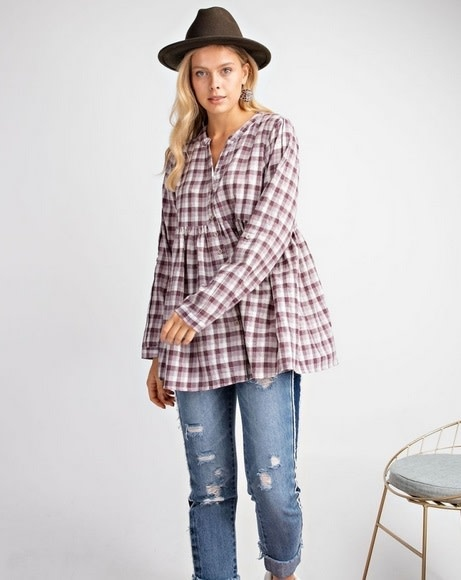 Plaid Button Down Babydoll Top Plum