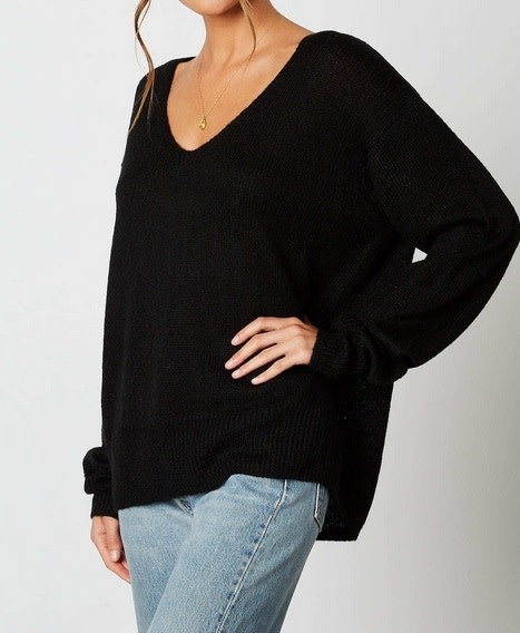 Loose Pullover Sweater Black