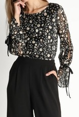 Floral Chiffon Print Top Black