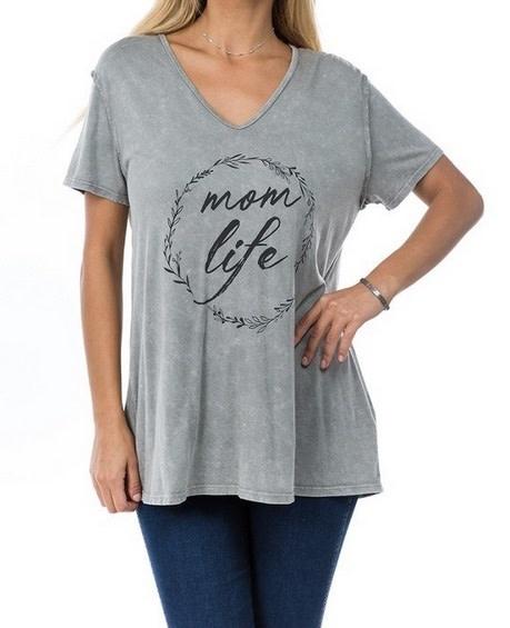 Mom Life Graphic Tee Grey