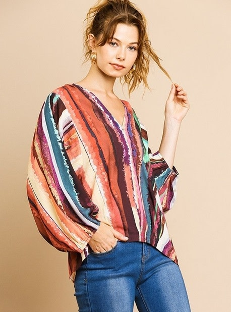 Multi Color Stripe V Neck Top Orange