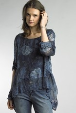 Floral Assymetrical Lace Edge Top Navy