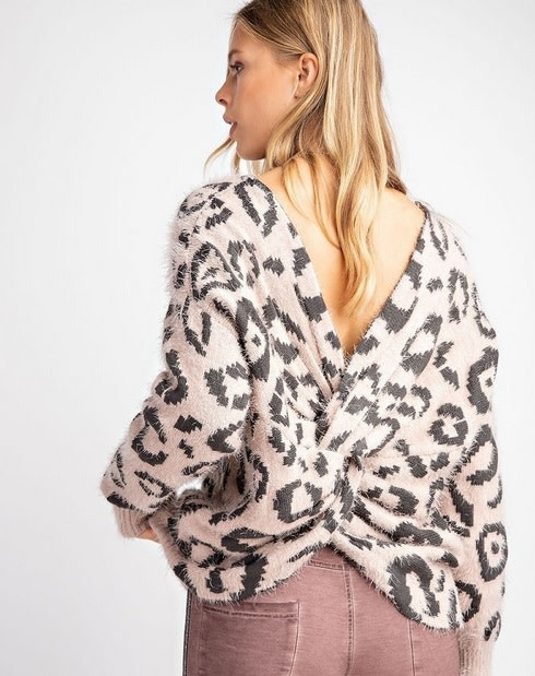 Twisted Back Leopard Mohair Sweater