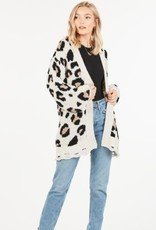 Open Front Animal Print Cardigan