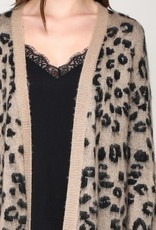 Leopard Print Long Sweater Cardigan
