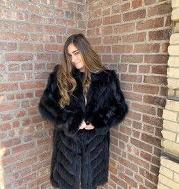 Linda Richards Chevron Fox Shawl Jacket Black