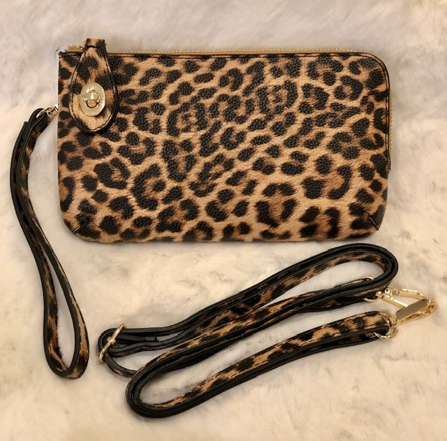 Printed Lock Closure Wristlet/Crossbody