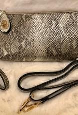 Metallic Lock Closure Wristlet/Crossbody