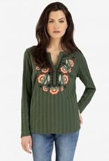Tribal Henley Top with Embroidery Cypress