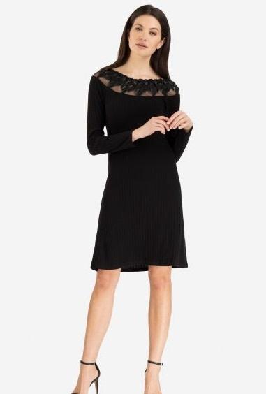 Tribal On and Off Shoulder Dress Black