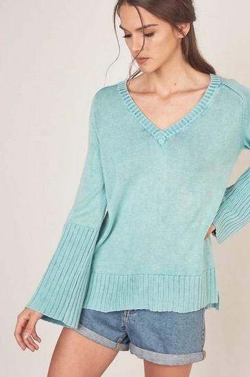 V Neck Bell Sleeve Sweater