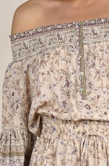 Off the Shoulder Smocked Mini Dress Blush