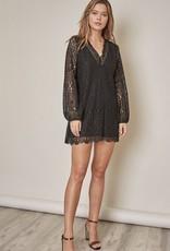 V-Neck Lace Mini Dress Black