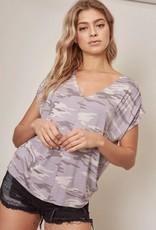 Shirred Short Sleeve Top Lavender Camo