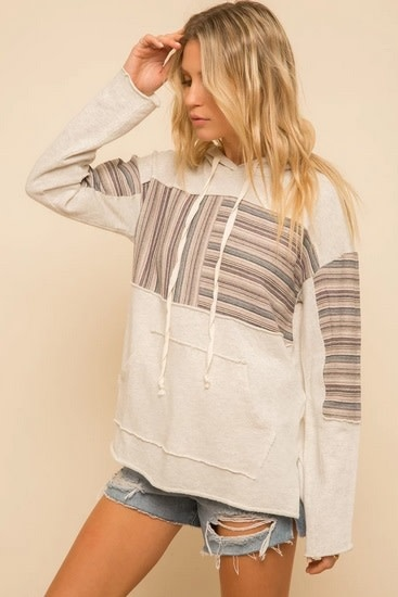 Stripe Contrast French Terry Hoodie Oatmeal/Multi
