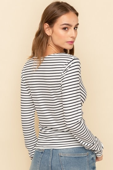 Twist Front V Neck Stripe Top White/Navy