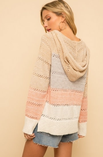 Mixed Colorblock Hoodie Pullover Taupe