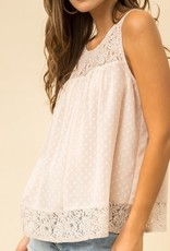 Lace Contrast Sleeveless Top Apricot
