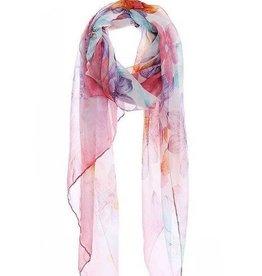Multicolor Flower Print Chiffon Scarf