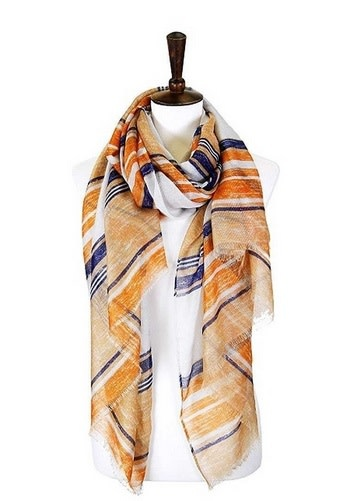 Striped Lurex Abstract Scarf