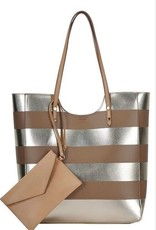 2 in 1 Striped Fashion Tote