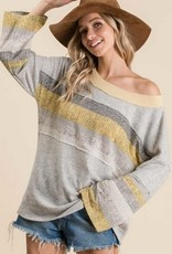 Two Tone Fabric Mix Match Top Grey/Yellow