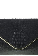 Textured Crocodile Clutch Bag