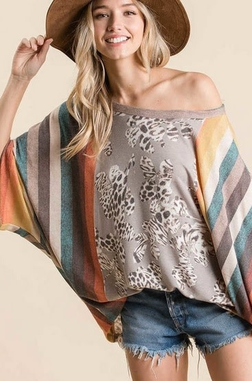 Animal Print and Stripe Boxy Top Grey/Multi