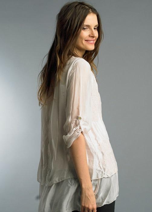 Roll Up Sleeve Silk Shirt Mauve