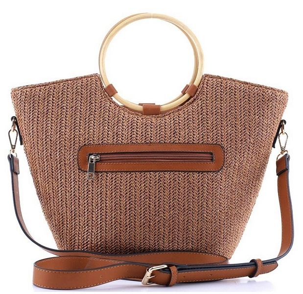 Round Bamboo Handle Straw Satchel