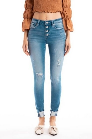 KanCan High Rise Button Ankle Skinny Jean