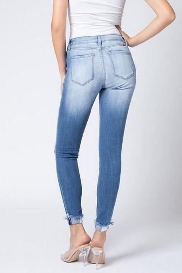 KanCan Distressed Mid Rise Super Skinny Jean Lt Wash