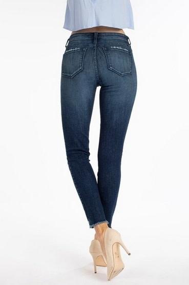 KanCan Pocket Grind Raw Hem Skinny Jean Dark Stonewash