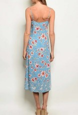 V Neck Floral Print Midi Dress Blue