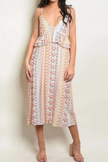 Ruffle Detail Chevron Midi Dress Pink Multi